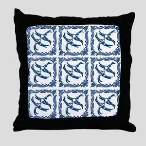 Blue and white swallows birds chinois Throw Pillow