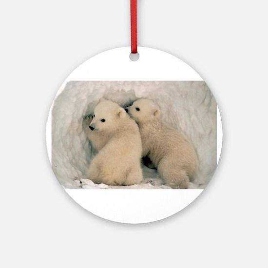 animal polar bear cub Ornament (Round)