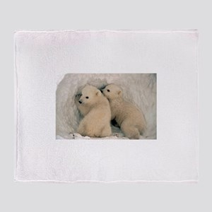 animal polar bear cub Throw Blanket