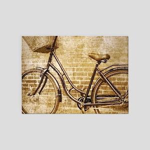 romantic street vintage bike 5'x7'Area Rug