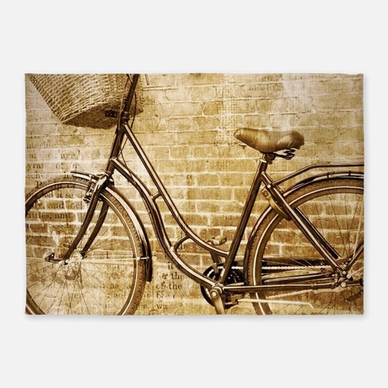 romantic street vintage bike 5'x7'Area Rug