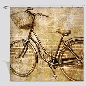 romantic street vintage bike Shower Curtain