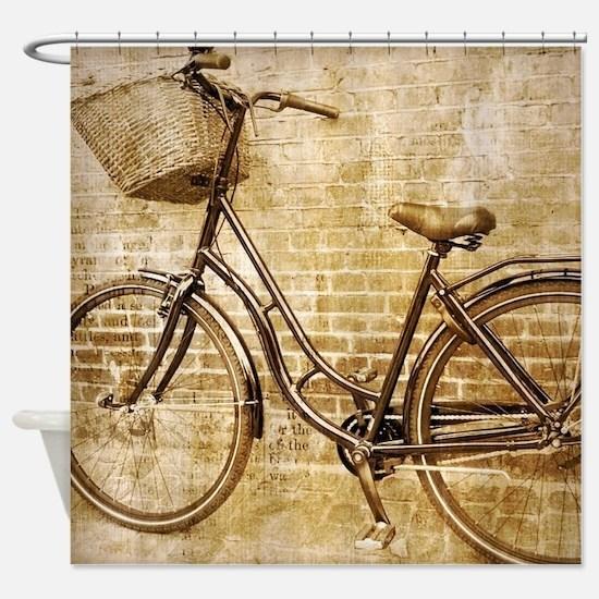romantic street vintage bike Shower Curtain