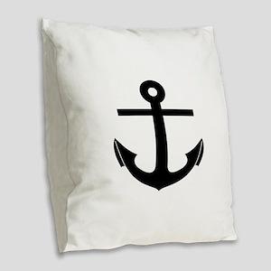 nautical anchor Burlap Throw Pillow
