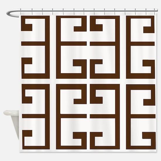 Brown Greek Tiles Shower Curtain