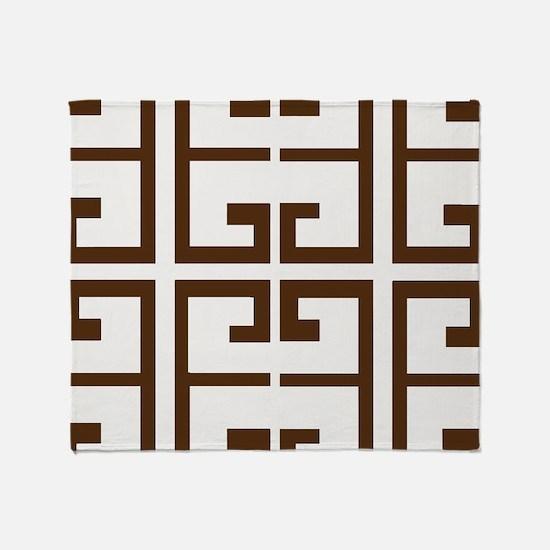 Brown Greek Tiles Throw Blanket