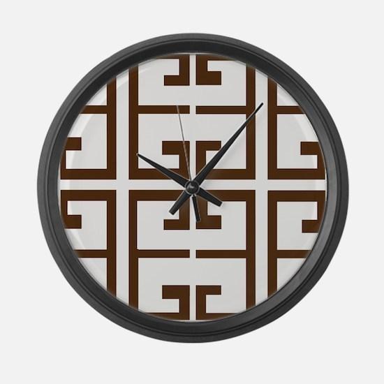 Brown Greek Tiles Large Wall Clock