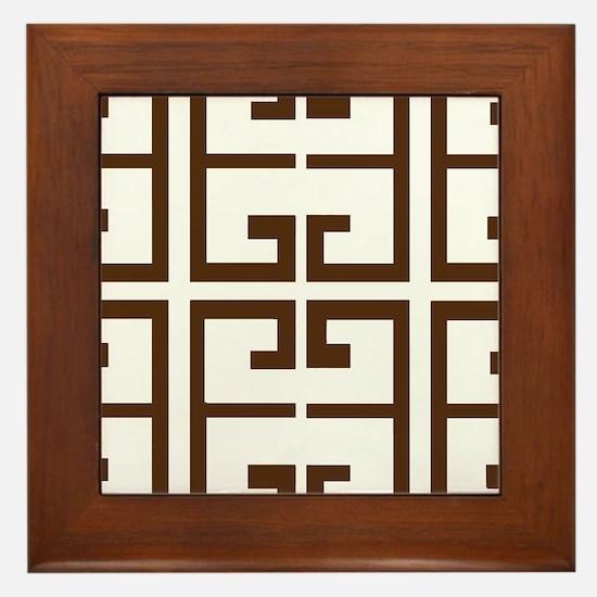 Brown Greek Tiles Framed Tile