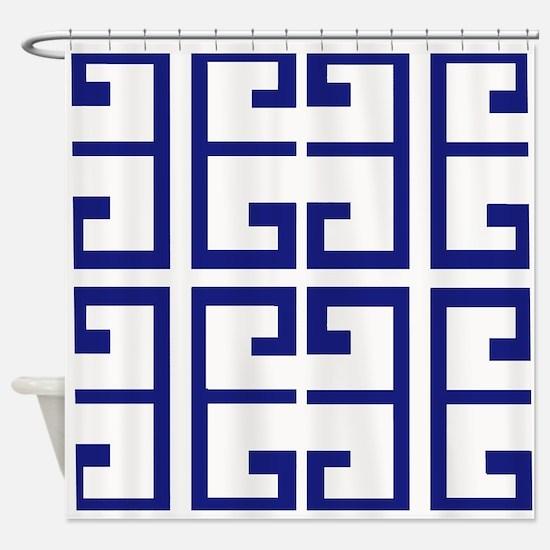 Dark Blue Greek Tiles Shower Curtain
