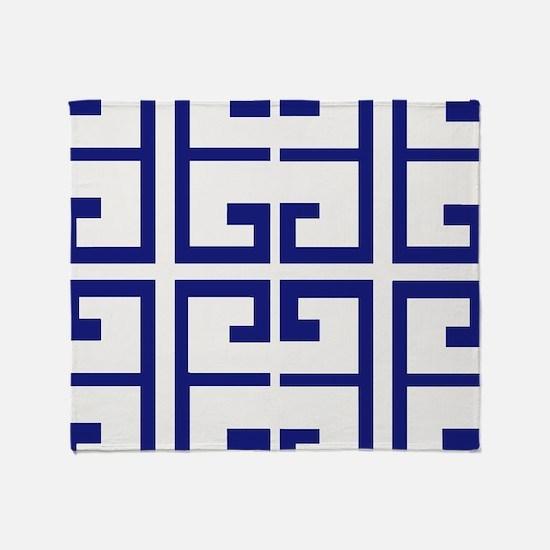 Dark Blue Greek Tiles Throw Blanket