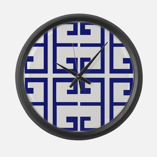Dark Blue Greek Tiles Large Wall Clock