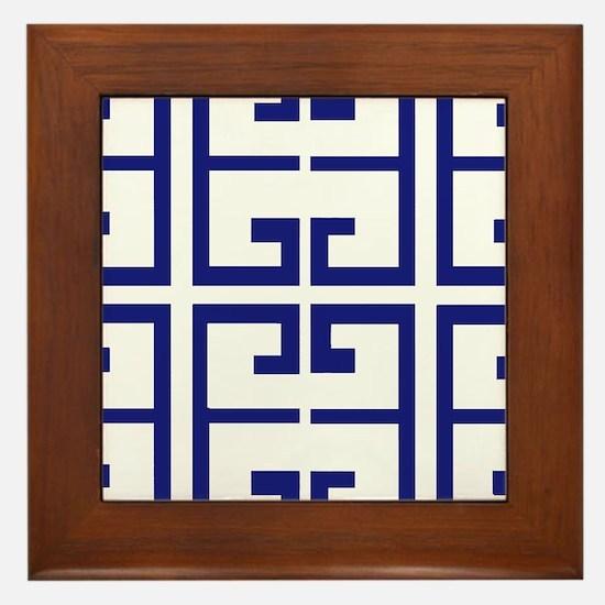 Dark Blue Greek Tiles Framed Tile