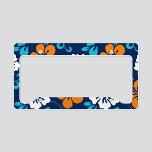 Navy-orange-light blue-white Hawaiian Hibiscus Lic