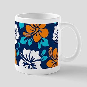 Navy-orange-light blue-white Hawaiian Hibiscus Mug