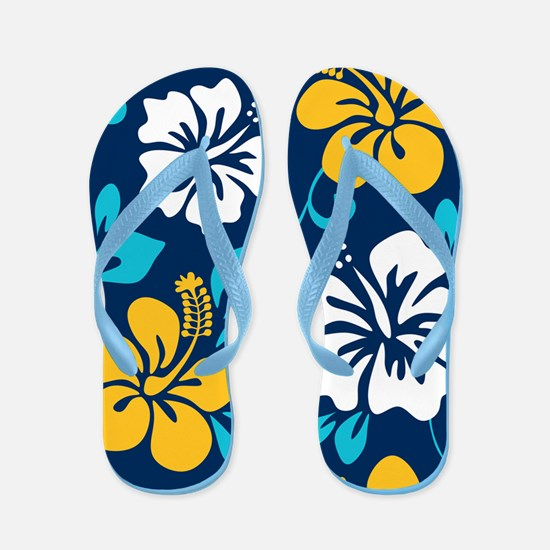 Navy-yellow-light blue-white Hawaiian Hibiscus Fli