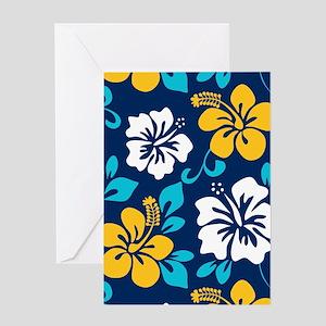 Navy-yellow-light blue-white Hawaiian Hibiscus Gre