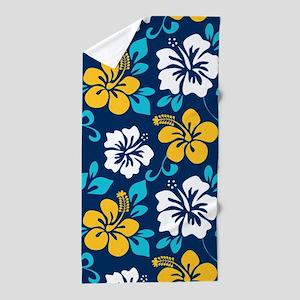 Navy-yellow-light blue-white Hawaiian Hibiscus Bea