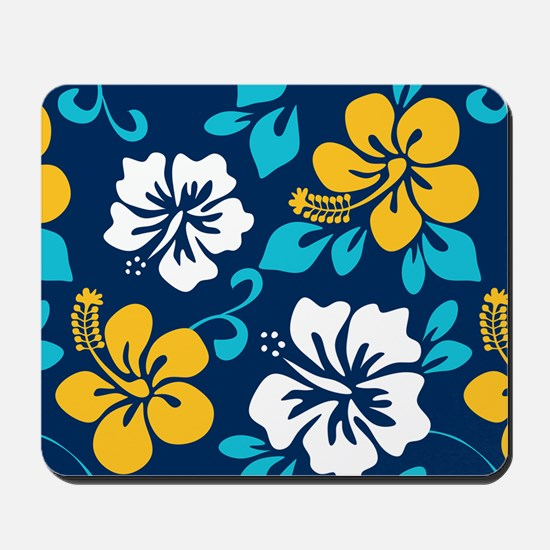 Navy-yellow-light blue-white Hawaiian Hibiscus Mou