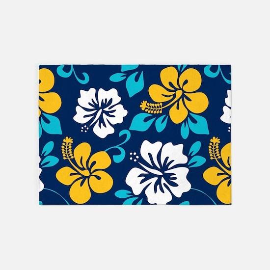 Navy-yellow-light blue-white Hawaiian Hibiscus 5'x
