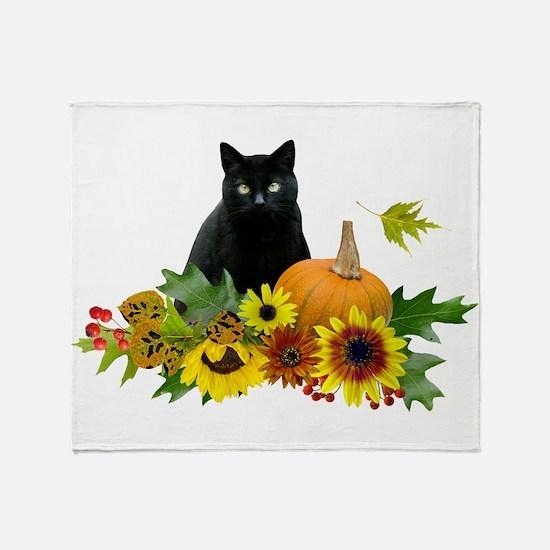 Fall Cat Throw Blanket