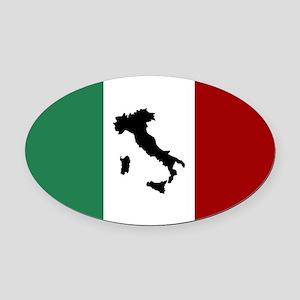 Italian Flag & Boot Oval Car Magnet