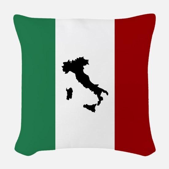Italian Flag & Boot Woven Throw Pillow