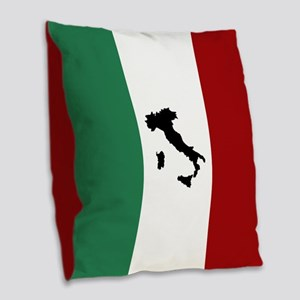 Italian Flag & Boot Burlap Throw Pillow