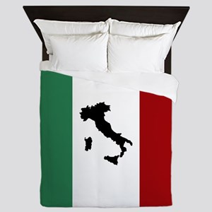 Italian Flag & Boot Queen Duvet