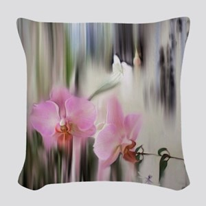 Orchids and Dragonflies Woven Throw Pillow