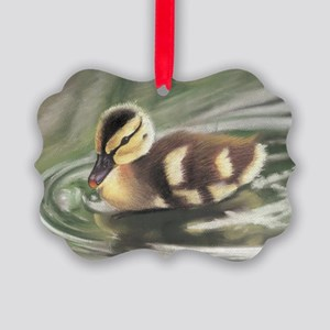 Duckling in Water Picture Ornament