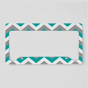 Grey & Teal Chevron Pattern License Plate Holder