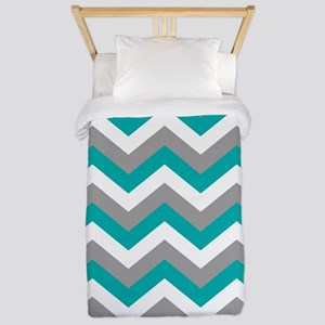 Grey & Teal Chevron Pattern Twin Duvet
