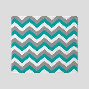 Grey & Teal Chevron Pattern Throw Blanket
