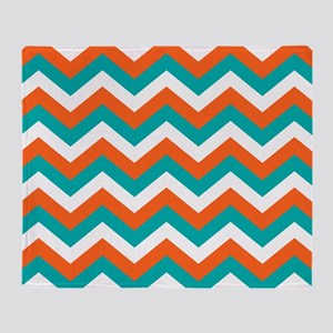 Teal & Orange Chevron Pattern Throw Blanket
