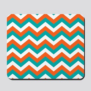 Teal & Orange Chevron Pattern Mousepad
