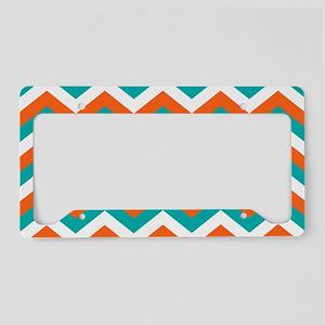 Teal & Orange Chevron Pattern License Plate Holder