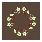 "Raspberry Wreath Square Car Magnet 3"" x 3"""