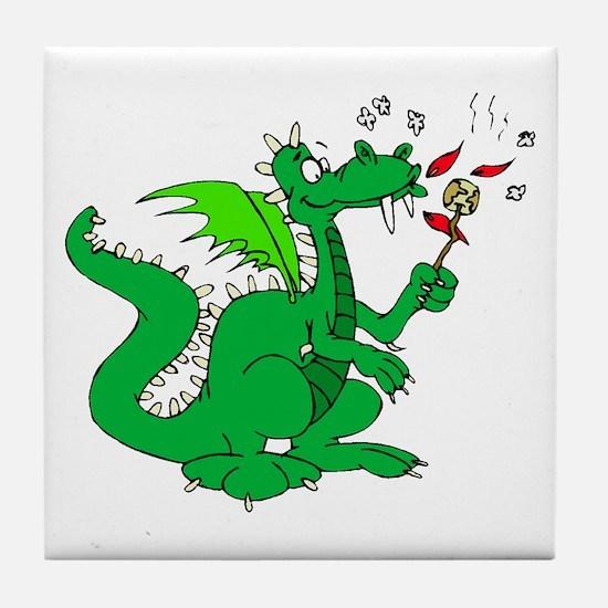 Roasting Marshmallows Dragon Tile Coaster