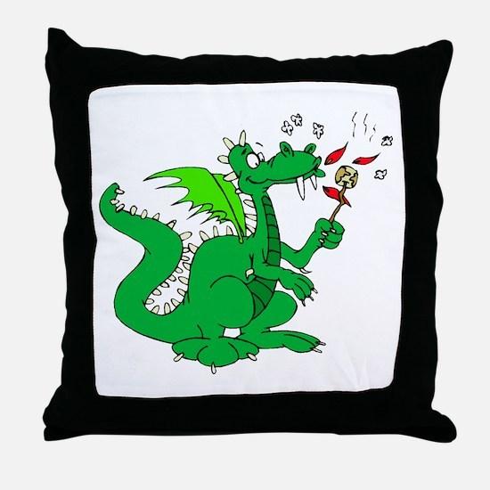 Roasting Marshmallows Dragon Throw Pillow