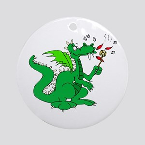 Roasting Marshmallows Dragon Ornament (Round)