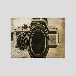 grunge vintage camera 5'x7'Area Rug