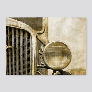 rusty vintage farm truck 5'x7'Area Rug