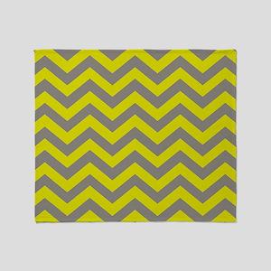 Chartreuse & Grey Chevron Pattern Throw Blanket