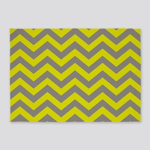 Chartreuse & Grey Chevron Pattern 5'x7'Area Rug