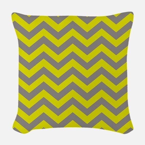 Chartreuse & Grey Chevron Patt Woven Throw Pillow
