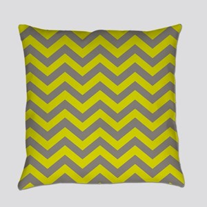 Chartreuse & Grey Chevron Pattern Everyday Pillow