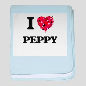 I Love Peppy baby blanket