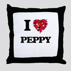 I Love Peppy Throw Pillow