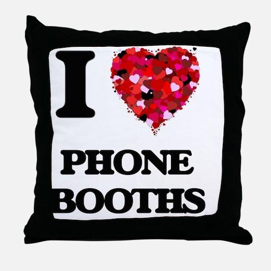 I Love Phone Booths Throw Pillow