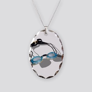 SwimmingGoggles091210 Necklace Oval Charm